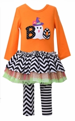 Bonnie Jean Little Girls Orange Ghost Boo Legging Set