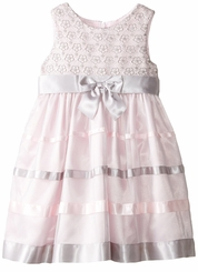 Bonnie Jean Little Girls' Pink and Grey Lace Ribbon Dress