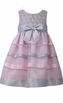 Bonnie Jean Little Girls Pink and Grey Lace Ribbon Dress