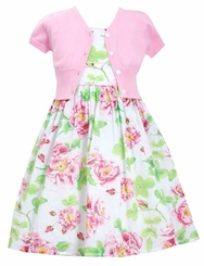 Bonnie Jean Little Girls Pink Floral Cardigan Dress