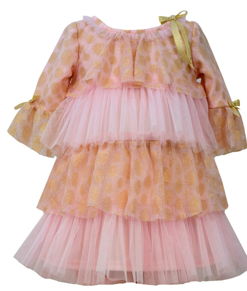 Bonnie Jean Little Girls Pink Gold Tiered Party Dress 3T