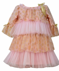 Bonnie Jean Little Girls Pink Gold Tiered Party Dress