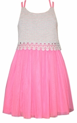 Bonnie Jean Little Girls Pink Lace Tulle Sundress