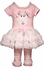 Bonnie Jean Little Girls Pink Lamb Tutu Easter Legging Set