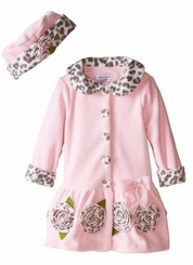 Bonnie Jean Little Girls Pink Leopard Trim Coat and Hat Set CLEARANCE