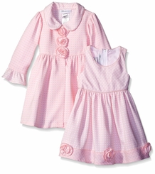 Bonnie Jean Little Girls Pink Rose Coat Dress