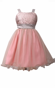 Bonnie Jean Little Girls Pink Sequin to Tulle Dress
