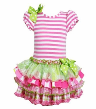 Bonnie Jean Little Girls Pink Tiered Ruffled Dress - SOLD OUT