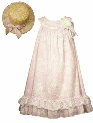 Bonnie Jean Little Girls Pink Vintage Style Float Dress with Hat