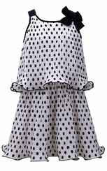 Bonnie Jean Little Girls Pleated Chiffon Polka Dot Pop Over Dress
