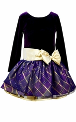Bonnie Jean Little Girls Purple Gold Bow Hipster Dress - sold out