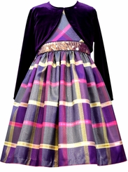 Bonnie Jean Little Girls Purple Plaid Taffeta Cardigan Dress