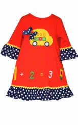 Bonnie Jean Little Girls Red Back to School Bus Dress