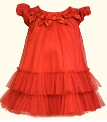 Bonnie Jean Little Girls Red Mesh Bow Dress  - no longer available