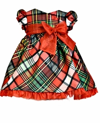 Bonnie Jean Little Girls Red Taffeta Plaid Short Sleeve Holiday Dress