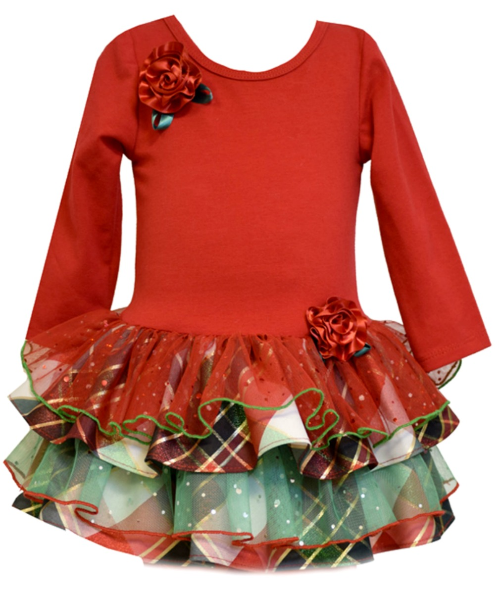 Bonnie jean little girls red tiered taffeta holiday dress
