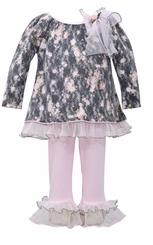 Bonnie Jean Little Girls's Floral Lace Brushed Pant Set