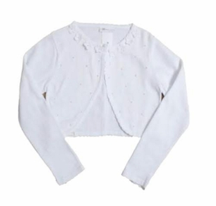Bonnie Jean Little Girls Scallop Beaded  White Cardigan - SOLD OUT