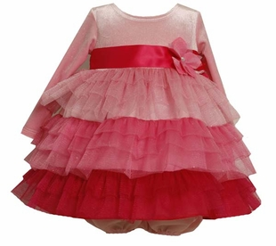 Bonnie Jean Little Girls Shades of Pink Valentine Dress - Pink Tiered Tulle - Out of Stock