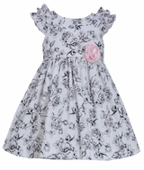 Bonnie Jean Little Girls Shoulder Ruffle Poplin Toile Dress