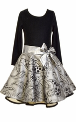 Bonnie Jean Little Girls Silver Black Hipster Dress