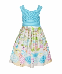 Bonnie Jean Little Girls Stripe-Bodice Conversation-Printed-Skirt Dress