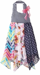 Bonnie Jean Girls Stripe Mixed Print Hanky Dress