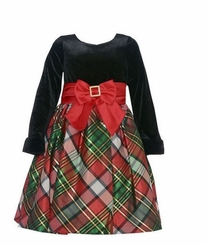 Bonnie Jean Little Girls Sweetheart Plaid Holiday Dress