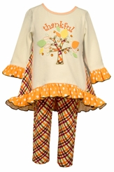 Bonnie Jean Little Girls Thankful Tree Legging Set