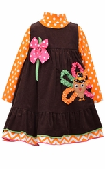 Bonnie Jean Little Girls Thanksgiving Turkey Jumper Dress Set
