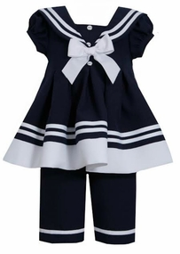 Bonnie Jean Little Girls Toddler Nautical Capri Set