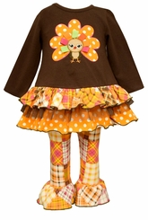Bonnie Jean Little Girls Turkey Patchwork Legging Set