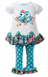 Bonnie Jean Little Girls' Turquoise Dot Owl Legging Set - sold out