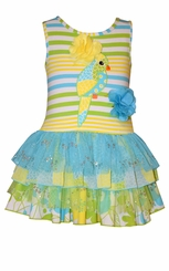 Bonnie Jean Little Girls Turquoise Parrot Ruffle Dress