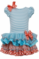 Bonnie Jean Little Girls Turquoise Tiered Ruffle Dress