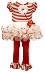 Bonnie Jean Little Girls Valentines Day Tutu Heart Legging Set