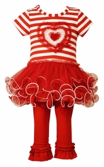 Bonnie Jean Little Girls Valentines Stripe Heart Legging Set