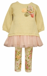 Bonnie Jean Little Girls Vintage Rose Sweater Legging Set
