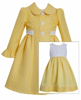Bonnie Jean Little Girls Yellow Dot Dress with Jacket