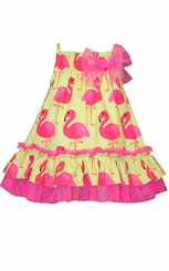Bonnie Jean Little Girls Yellow Flamingo Ruffle Sundress