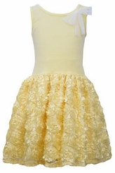 Bonnie Jean Little Girls Yellow Sleevless Bonaz Dress