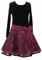Bonnie Jean Magenta Girls Holiday Dress with Magenta Bow