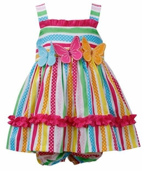 Bonnie Jean Multi Color Stripe & Dot Triple Butterfly Sundress - sold out