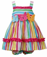 Bonnie Jean Multi Color Stripe & Dot Triple Butterfly Sundress