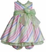 Infant-Girls Easter Dress Bonnie Jean Striped Dress SALE