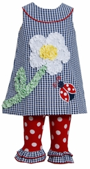 Bonnie Jean Navy Checked  Flower Lady Bug Applique Legging Set SALE