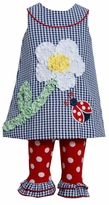 Bonnie Jean Navy Checked  Flower Lady Bug Applique Legging Set