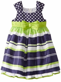Bonnie Jean Navy Lime Stripe Dot Dress : Easter Dress