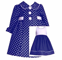 Bonnie Jean Navy Polka Dot Dress and Coat Set - SOLD OUT