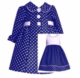 Bonnie Jean Navy Polka Dot Dress and Coat Set